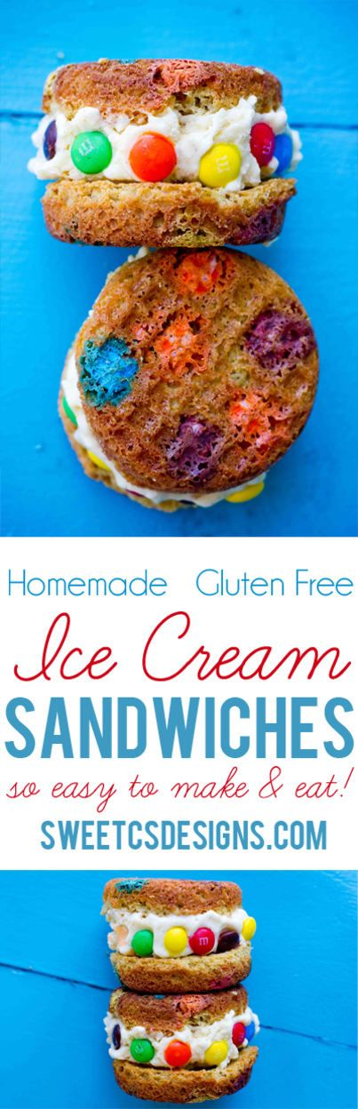 Gluten free ice cream sandwiches- so easy to make and enjoy at home! You can even make them ahead of time and freeze for up to 3 months!