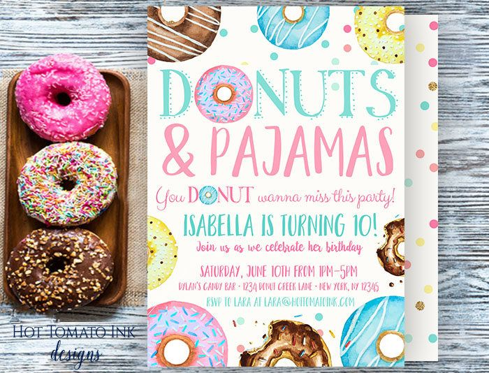 Donuts and Pajamas Invitation-donut invitation-donut party-donut birthday-birthday invitation-sleepover party-slumber party-custom-printable by Hottomatoink2 on Etsy