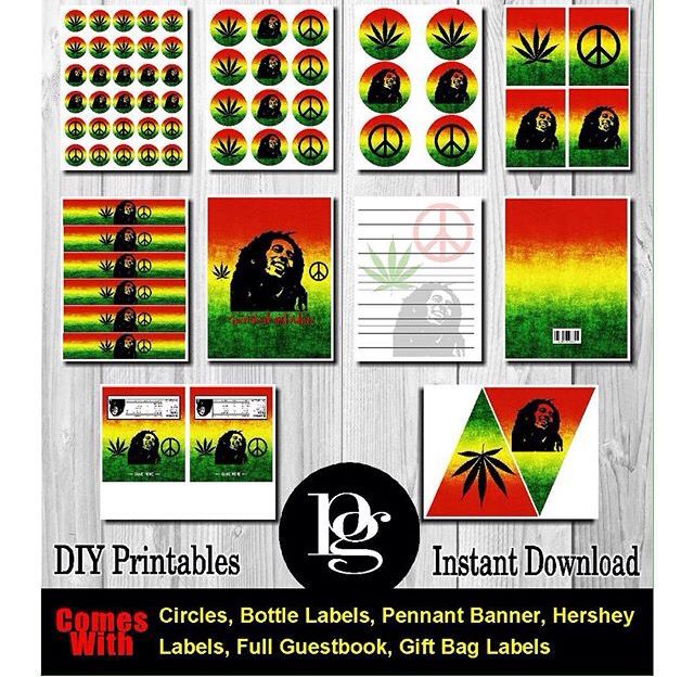 $14.95 - Bob Marley Party Favors - Rasta Party Supplies - Jamaican Party Supplies - Bob Marley Theme - Rasta Theme