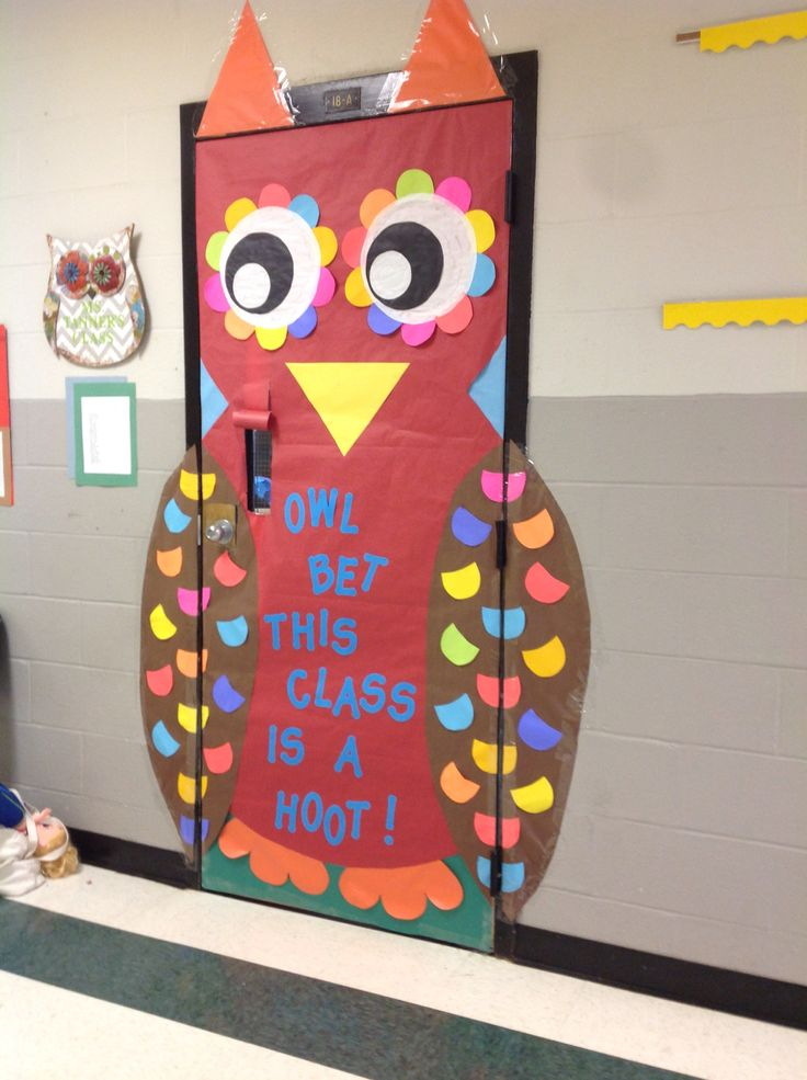 "Fall Owl Door for a 4th grade class. Adding a panel to the wall in late October that says ""Tanner's owls give drugs the boot!"""