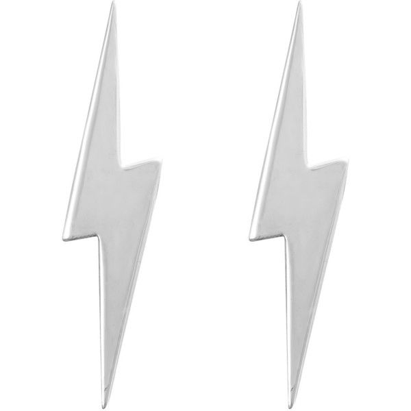 Edge Only - Pointed Lightning Bolt Earrings Silver found on Polyvore featuring jewelry, earrings, accessories, silver, brincos, sparkly earrings, silver pendant jewelry, silver jewellery, silver pendant and stud earrings