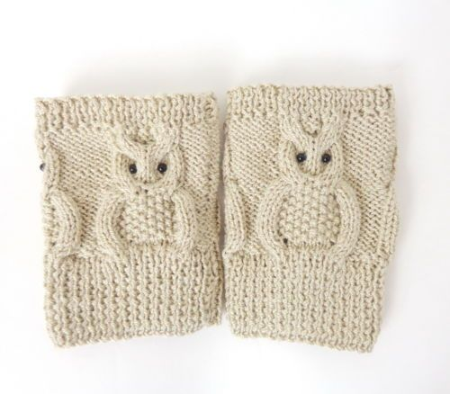 Knitted Boot Cuffs Cream Owl Boot Socks