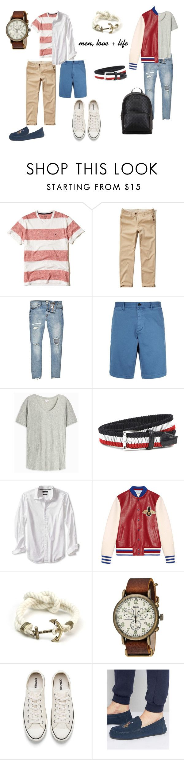 """""""summer vacation men's look"""" by polina-saleychuk on Polyvore featuring Hollister Co., River Island, Armani Jeans, Orlebar Brown, J.W. Anderson, Banana Republic, Gucci, Timex, Converse и Ralph Lauren"""
