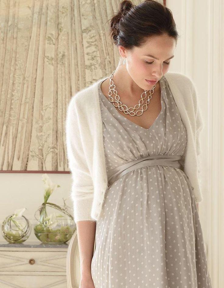 champagne polka dot silk maternity dress