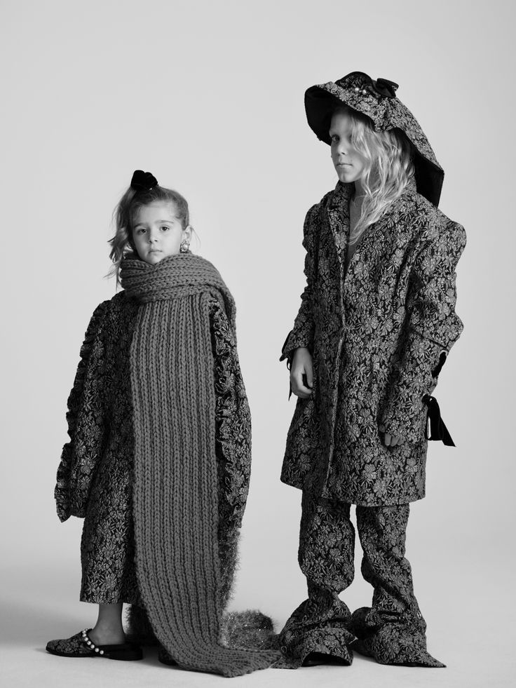 """""""This season we're wearing a lot of pattern, frill and pearl embellishment.  Our fashion mantra? More is more"""" Louis, 10; Elsie, 5 Photographed by Toby Coulson. #motherofpearl #pearlyqueen #playdressup #oversized"""