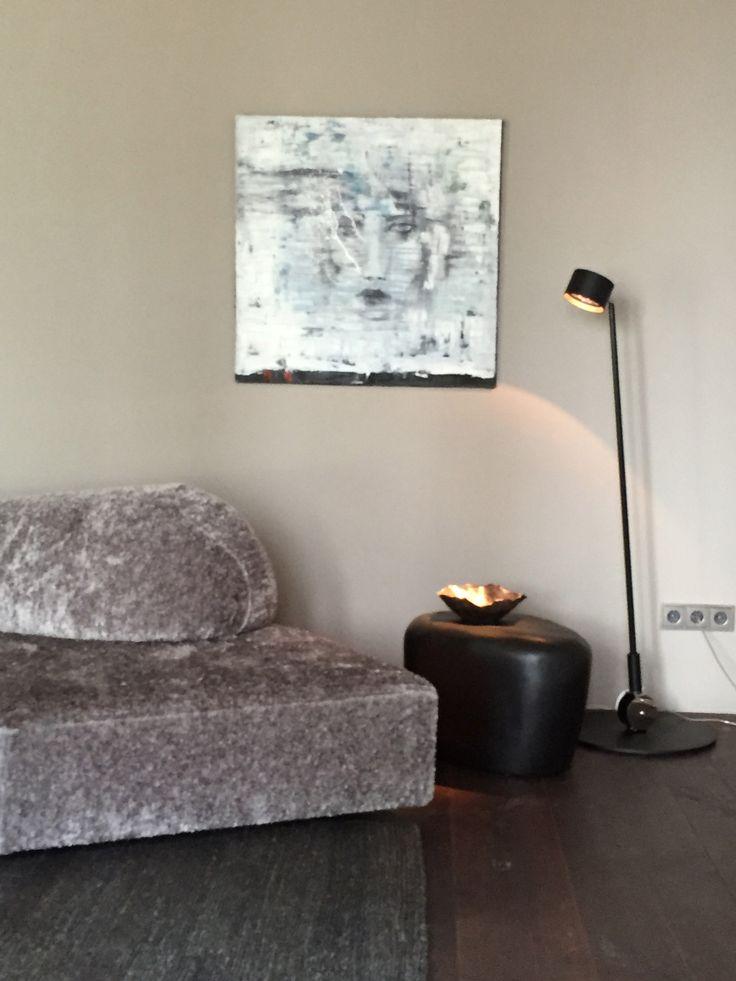 paintings by TK.Kim, side table slab, imperfettolab, indoor light sampei 230, davide groppi, sofa on the rocks, edra rug earth, nani marquina