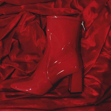 Red Patent Leather Boots + Velvet