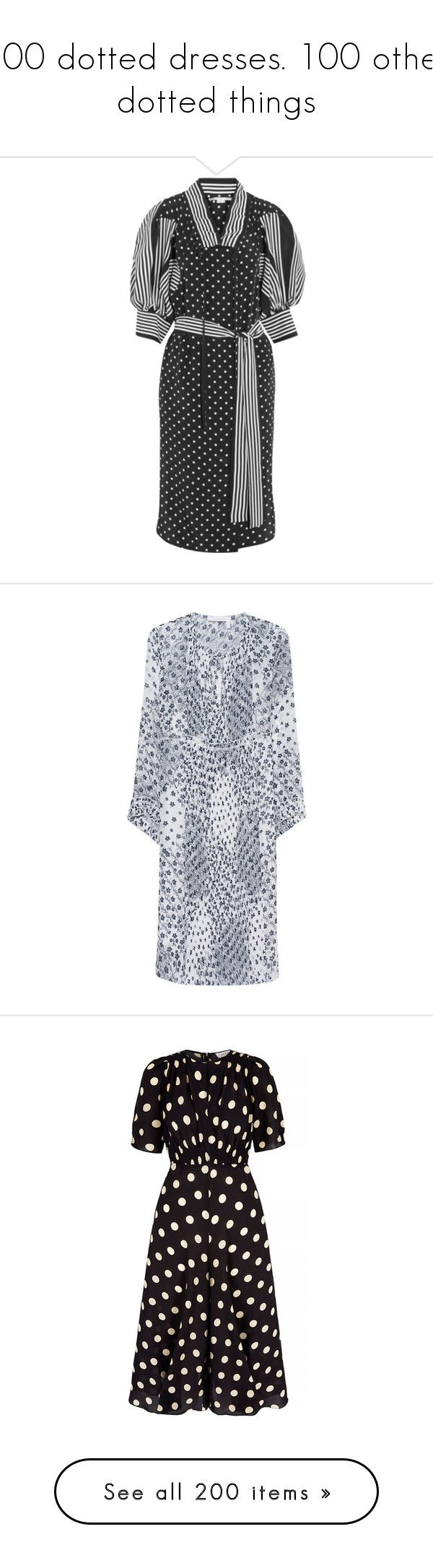 """""""100 dotted dresses. 100 other dotted things"""" by lorika-borika on Polyvore featuring dresses, black and white dresses, loose fitting dresses, black and white polka dot dress, stella mccartney dresses, silk dress, short dresses, white mini dress, white dress и mini dress"""