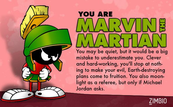 I'm Marvin the Martian! Which 'Looney Tunes' character are you? #ZimbioQuiz