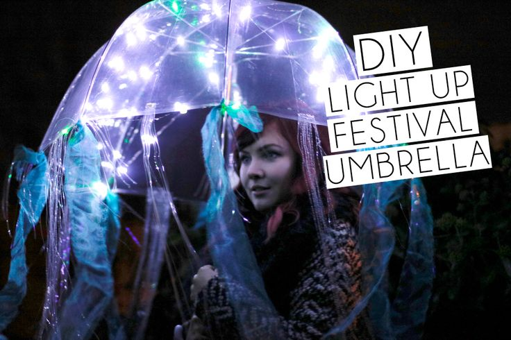 DIY Light Up Festival Umbrella by Paige Joanna. Click Photo to watch the YouTube tutorial. #coachella #festival