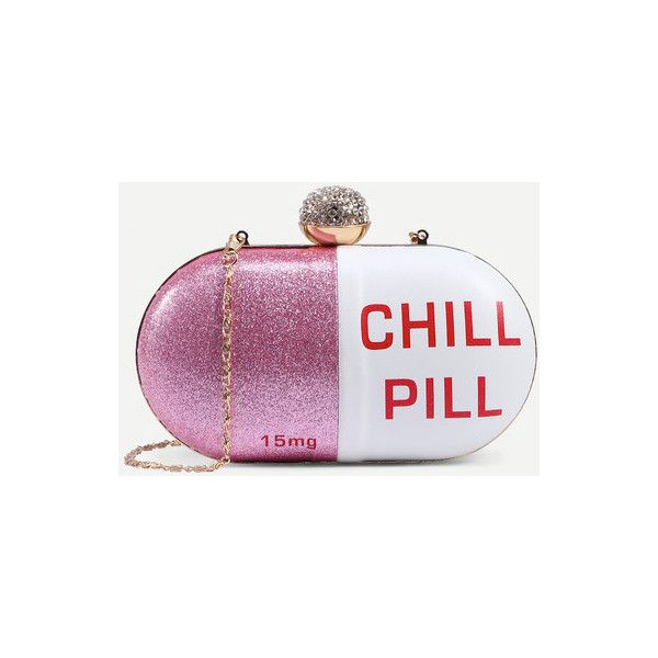White Pill Shaped Clutch With Rhinestone Ball Closure ($19) ❤ liked on Polyvore featuring bags, handbags, clutches, white, rhinestone clutches, rhinestone studded handbags, chain handbags, rhinestone purses and white handbags