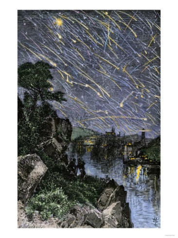 Remarkable Meteor Shower over the Mississippi River, 1833 Giclee Print