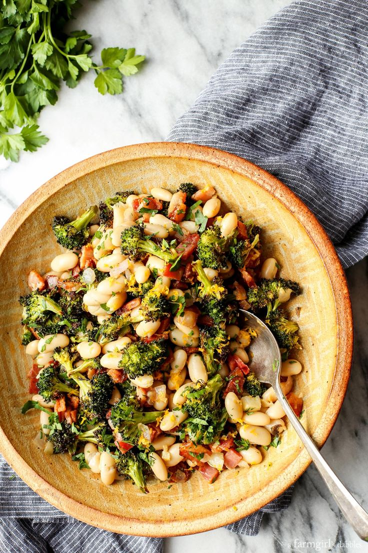 Lemon Broccoli with Beans and Bacon from @farmgirlsdabble