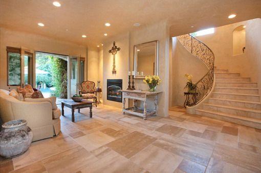 Best Mediterranean Living Room Near Staircase Mediterranean 400 x 300
