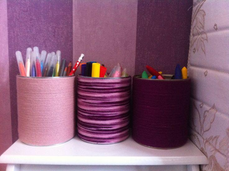 Pots a crayons (conserves, laine)