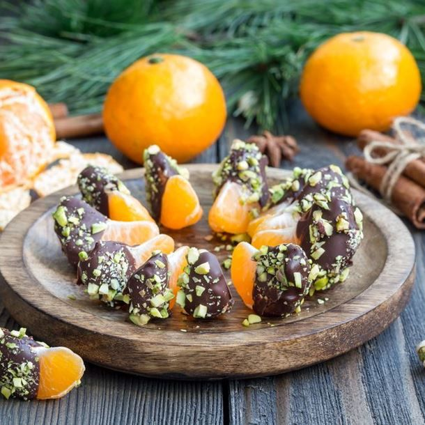 Clémentines au chocolat et aux pistaches