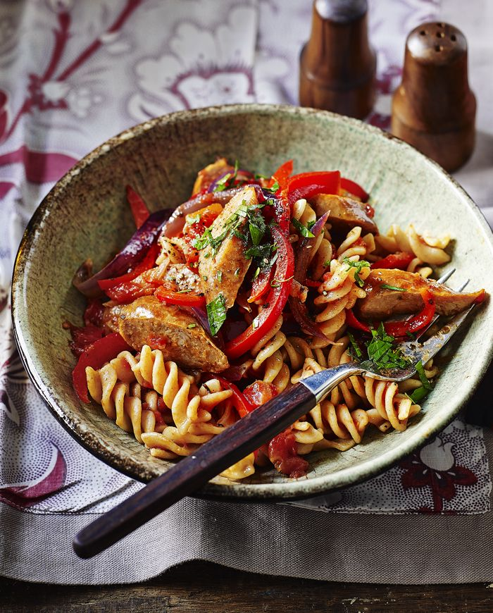 It just ticks all the boxes - easy sausage pasta with wholewheat fusilli and sweet red peppers.