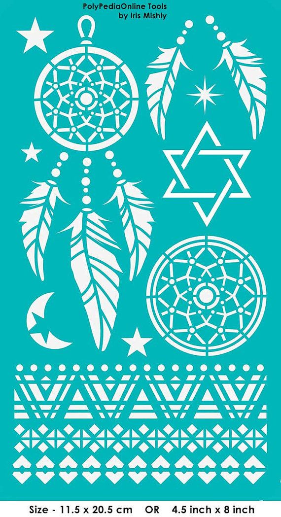 "Stencil Stencils Templates ""Dream Catcher, Star of David"", self-adhesive, flexible, for polymer clay, fabric, wood, glass, card making"