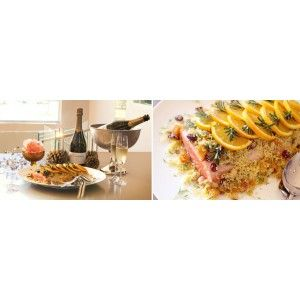 Whole baked fillet of Norwegian Salmon with Fruity Cous Cous & Orange with L'Ormarins Brut Classique NV