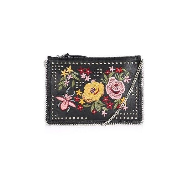 Topshop Floral Embroidered Cross Body Bag (58 AUD) ❤ liked on Polyvore featuring bags, handbags, shoulder bags, black, genuine leather handbags, chain shoulder bag, leather shoulder bag, crossbody purses and leather cross body handbags