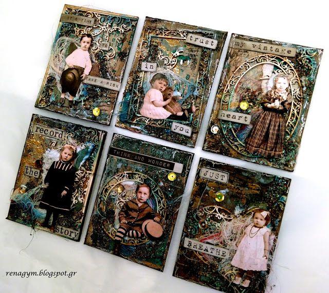 Scrapiniec inspirations on blogspot: Vintage Artist trading cards , by Eirini Tsaima.