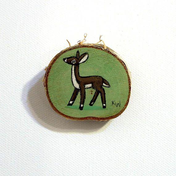 Doe Tiny Painting Original Wall Art Acrylic on Birch Wood Chip by Karen Watkins Deer Woodland Rustic Artwork
