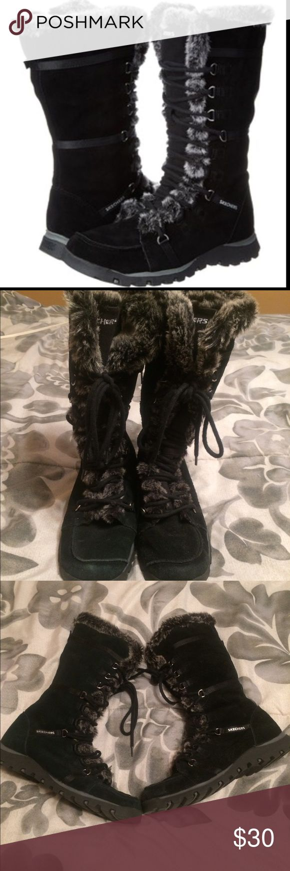 Sketchers black boots size 9 Super cute warm fuzzy black boots from Sketchers size 9. Super comfortable. Bottoms very clean. One boot has a greenish tint to them but looks cute either way and could be washed or dyed to fix if wanted. Skechers Shoes Winter & Rain Boots