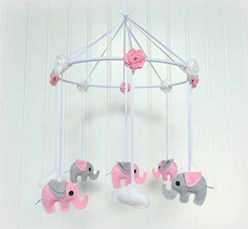 Handmade Nursery Elephant And Cloud Baby Mobile In Pink Decoration Details Can Be
