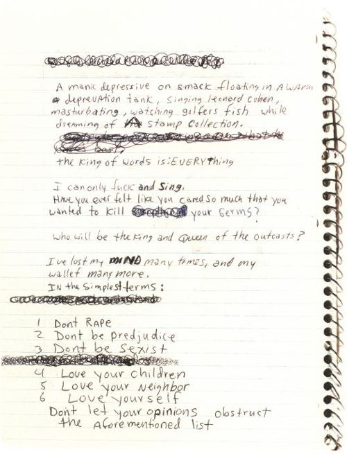 list of life advice - kurt cobain, c.1988/9 [from 'kurt cobain: journals'; link to brain pickings article]
