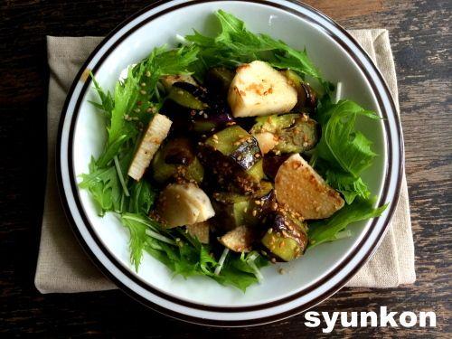 【簡単!!副菜】ナスと長芋のゴマめんつゆと、『レシピブログで人気のフライパン1つで作るおかず』 |山本ゆりオフィシャルブログ「含み笑いのカフェごはん『syunkon』」Powered by Ameba