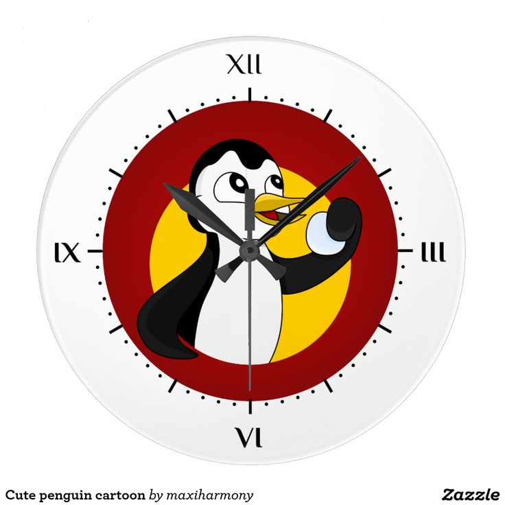 Cute penguin cartoon clocks