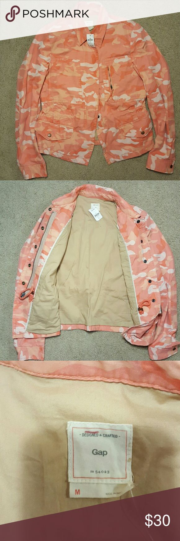 GAP Pink Camo jacket Never worn. With tags. Super sturdy fabric with nice details. Adjustible cinch waist. Great coat for transition seasons GAP Jackets & Coats Utility Jackets