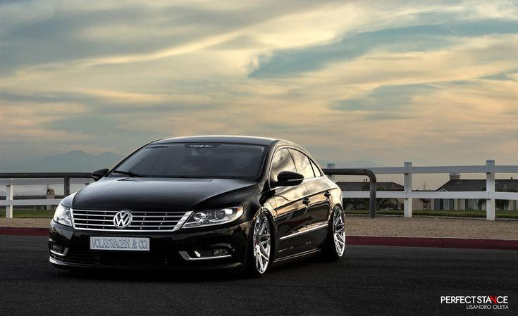 Volkswagen CC Sport: Midnight Pearl Black on VIP Modular VRC13 wheels and air suspension.