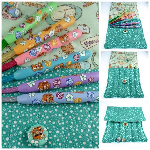 Crochet Hook Case with Set of Susan Bates Crochet Hooks, Handmade with Polymer Clay, Cats and Yarnballs