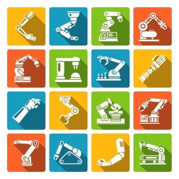Robotic arm production engineer technology industry assembly mechanic flat icons set isolated vector illustration