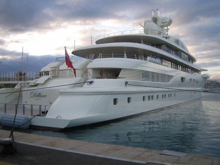 $256 MILLION: The Dilbar is the world's largest yacht by gross tonnage at 15,917 tons (over 31 million pounds). It was built for Alisher Usmanov, a Russian billionaire. The Dilbar has two helipads, an indoor swimming pool, and 3,800 square meters of living space.