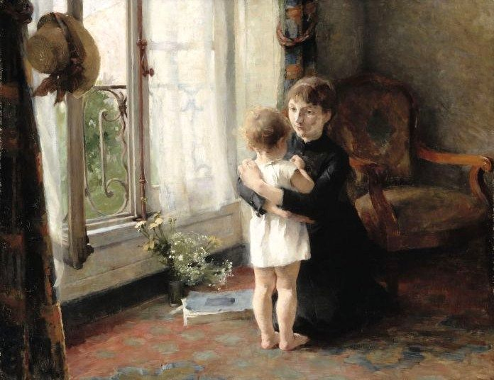 Helene Schjerfbeck「Mother and Child」(1886)