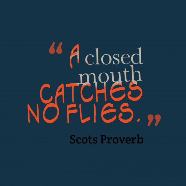 A ##closed m#outh catches no flies.