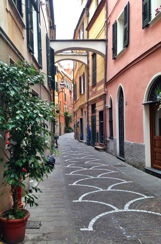 Caruggiu (small street in local dialect) in Pietra Ligure. Italian Riviera, Liguria, Italy.