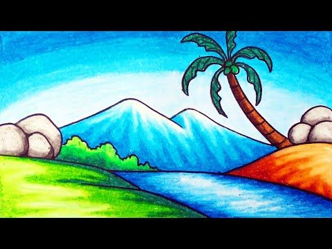 Easy Nature Scenery Drawing For Beginners How To Draw Simple Scenery Of Mountain And Ri In 2020 Nature Drawing For Kids Scenery Drawing For Kids Easy Nature Drawings