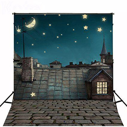 5x7ft(150x210cm) Fotografie Hintergrund keine Falten Moon Night Hintergründe für Kinder Hintergrund