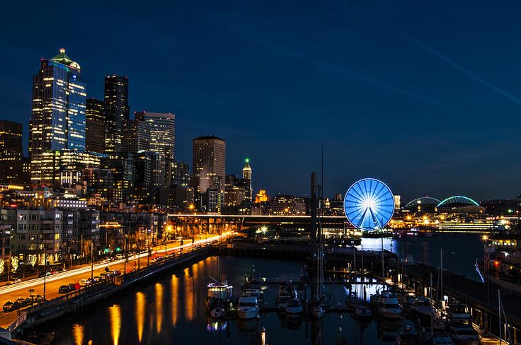 Seattle Waterfront A long exposure of the Seattle Waterfront with the Great Wheel and CenturyLink Field. long exposure Seattle Waterfront Great Wheel CenturyLink Field Washington night lights
