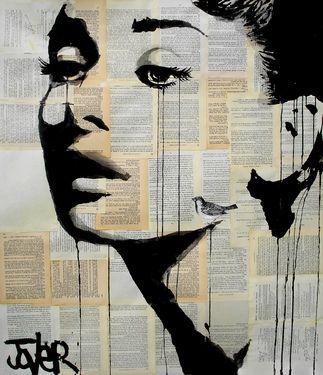 "Saatchi Online Artist Loui Jover; Drawing, ""and her bird can sing"" #art"