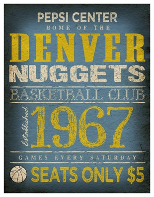 Denver Nuggets Print   11x14  Pepsi Center Poster  by TheLemonPeel, $22.00