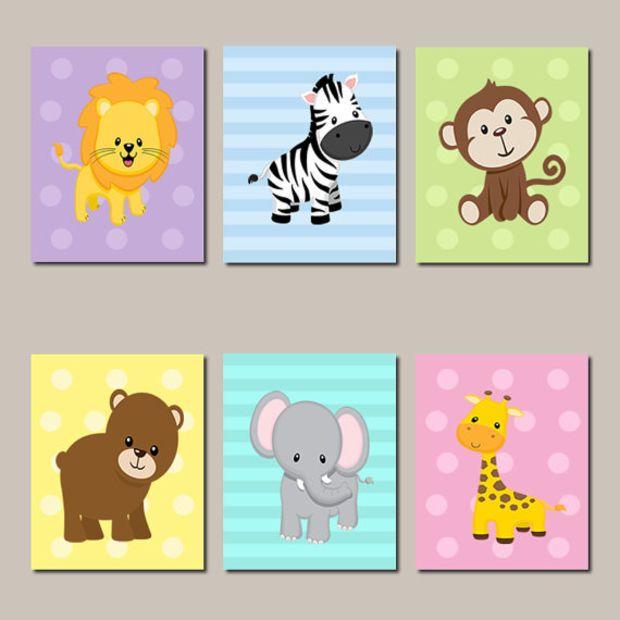 Elephant Twin Nursery Wall Art Nursery Room Decor For Twins: JUNGLE Nursery Wall Art Jungle Animals Art ELEPHANT