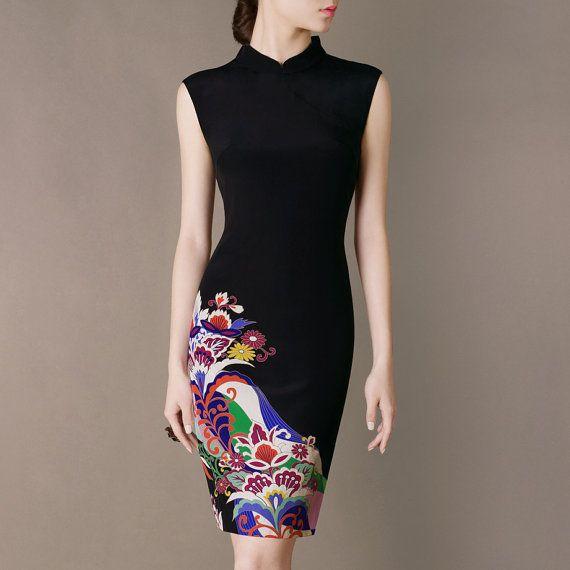 Silk Cheongsam Dress 2014 New Spring Outfit Mandarin Neckline Black Elegant Silk Dresses Vintage Printing Formal Clothing CW18