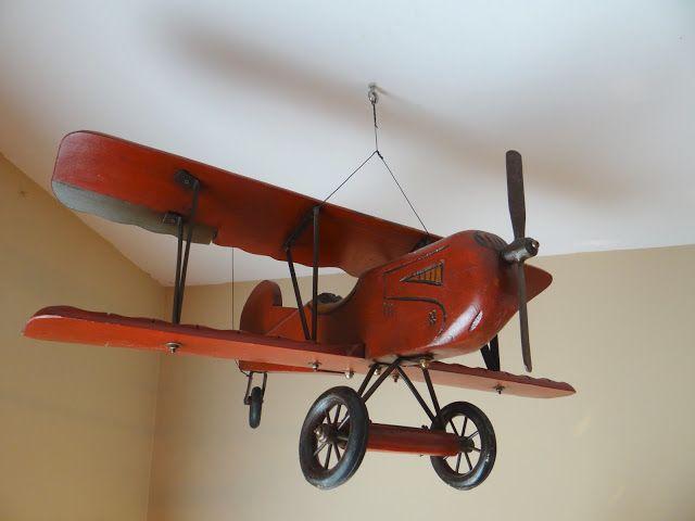 boy's vintage transportation bedroom, toddler airplane room