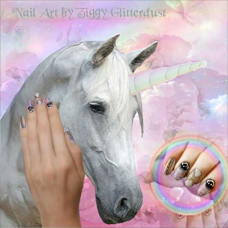 Cute, dreamy unicorn collage with pastel nails by Ziggy Glitterdust; Eyes, negative space nails, pastel ombre, fairy tail, unicorn poop;)