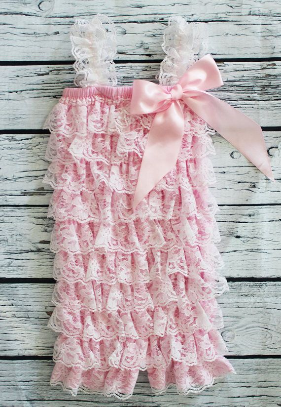 Pink Lace Baby Girl Romper Spring First Birthday Photo Shoot