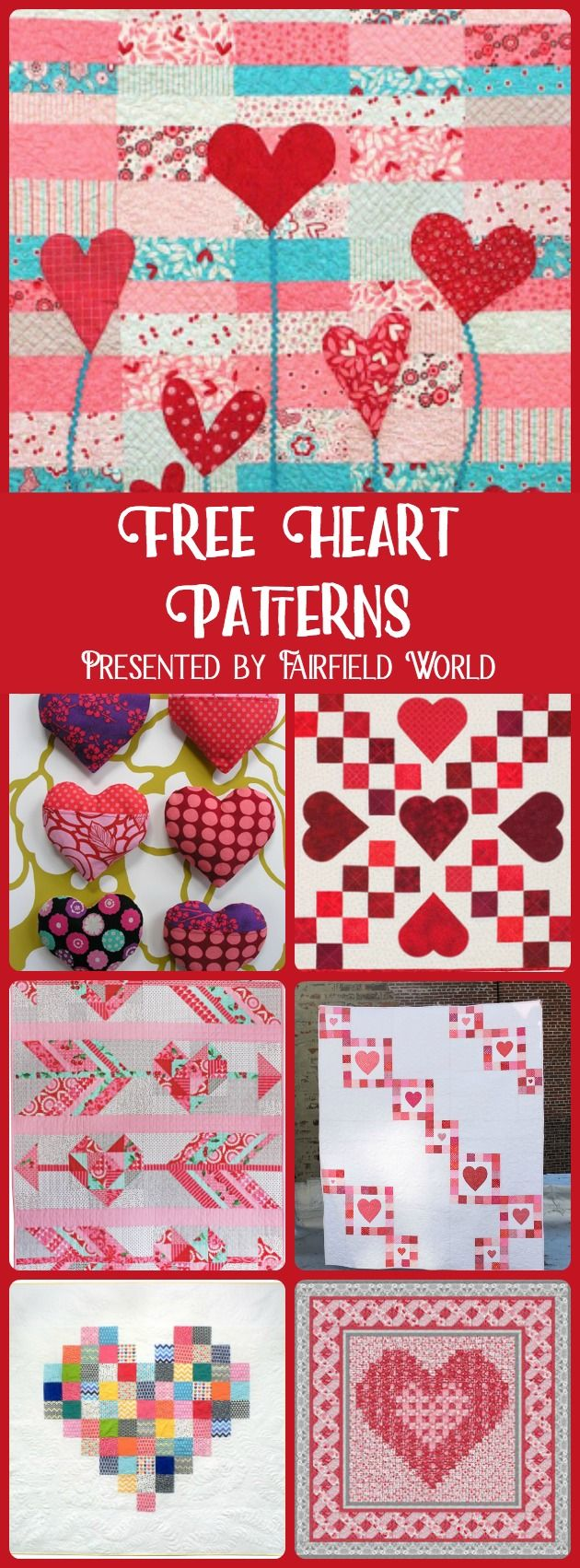 free Heart Patterns quilting sewing appliqué - sewing projects for valentines day